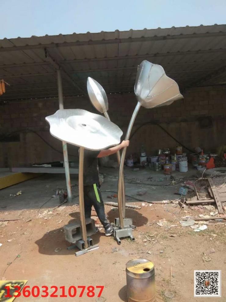 户外不锈钢荷花雕塑,创意荷花雕塑,植物雕塑