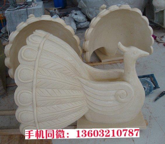 石雕孔雀雕塑定做 动物石雕生产厂家
