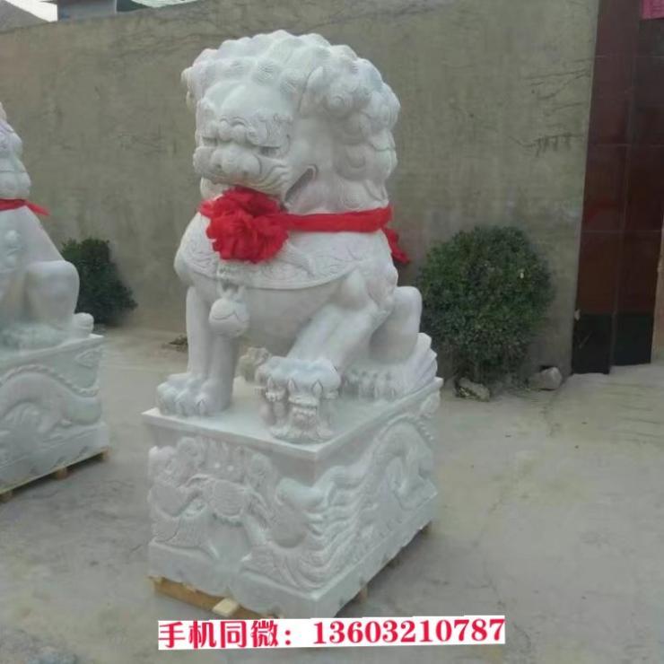 白玉狮子石雕塑 石雕狮子价格 石雕狮子加工