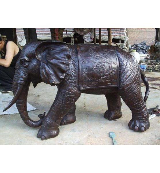 銅大象擺件 大號銅雕大象 鎏金銅大象