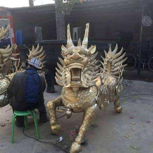镇宅铸铜麒麟 开光铸铜麒麟 铜麒麟雕塑