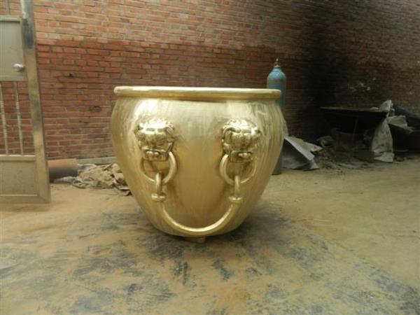 精美铜雕大缸 鎏金铜雕大缸 庙宇铜大缸