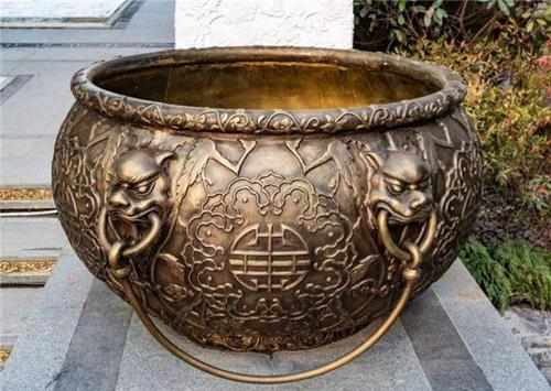 铜大缸摆件 养鱼青铜大缸 刻字铜大缸