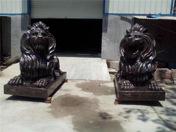 镇宅铜狮子 做旧铜狮子 铜狮子雕塑