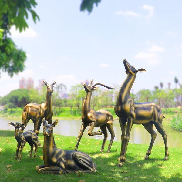 铜鹿雕塑 铸造铜鹿 风水铜鹿