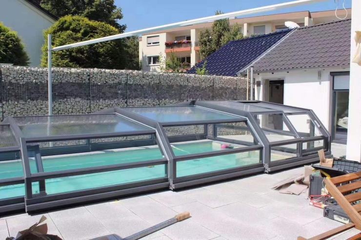 平移折叠阳光房兮鸿游泳池活动房移动