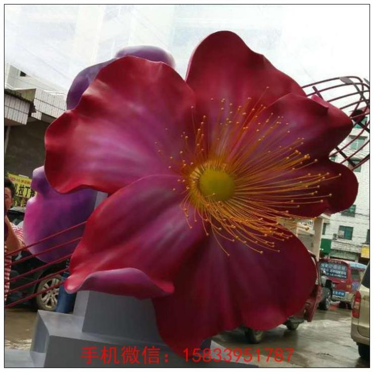 不锈钢仿真花雕塑 鲜艳花朵不锈钢雕塑