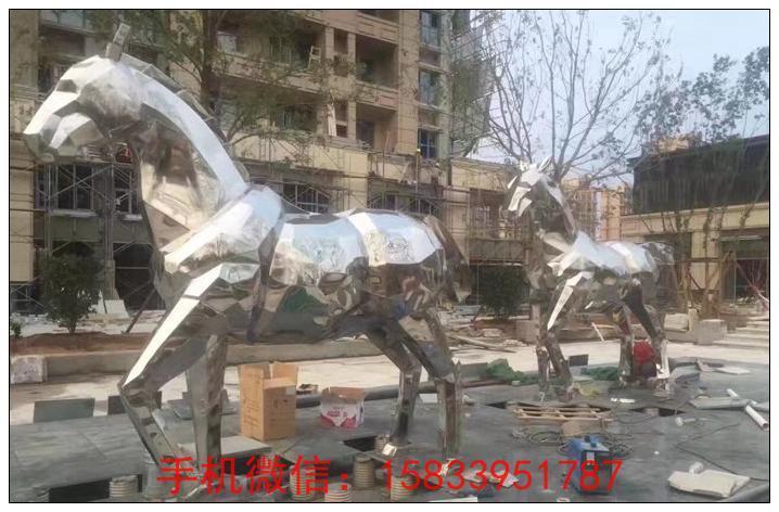 动物雕塑 不锈钢切面马雕塑