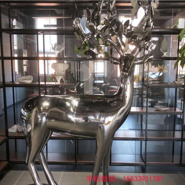 不锈钢镜面鹿雕塑 创意鹿雕塑 不锈钢鹿雕塑