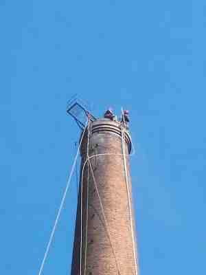 荔城烟囱定向爆破 现场施工