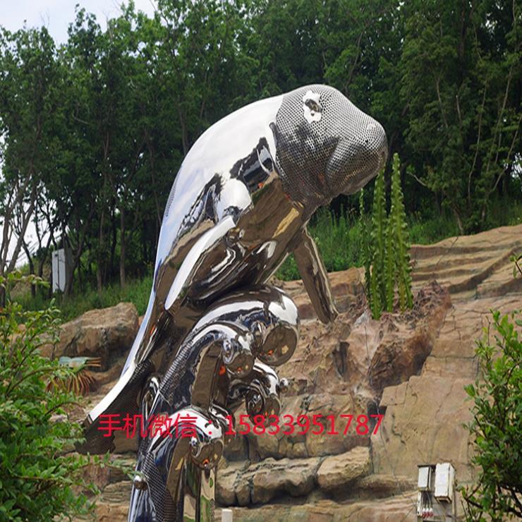 不锈钢海洋动物鲨鱼雕塑 摆件