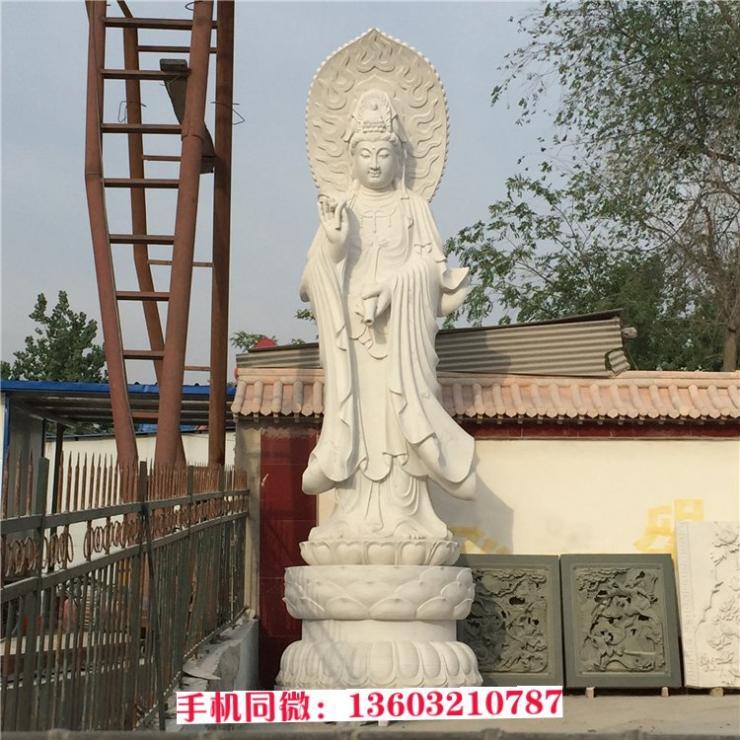 三面观音像 石材寺庙摆件 祭祀用品厂家直销