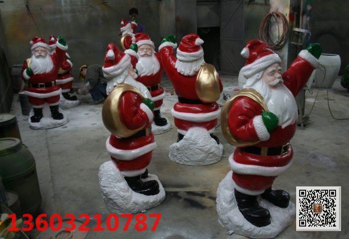 玻璃钢圣诞老人雕塑 圣诞节礼品 定做景观装饰美陈