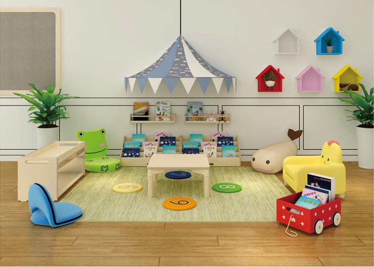 沈阳早教中心幼儿园室内读书区 书柜 书架