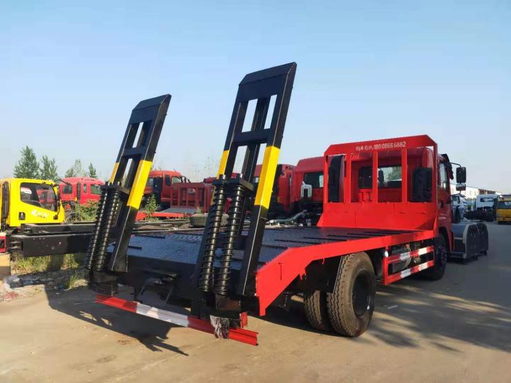 專業挖機收割機平板運輸車廠家直銷求購小挖機平板車4橋勾機平板車