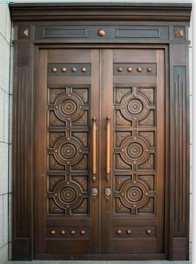 供应豪华别墅高端新中式铜门