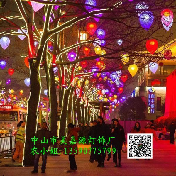 迎春商业街LED桃子造型灯 西瓜水果装饰灯 灯杆美化