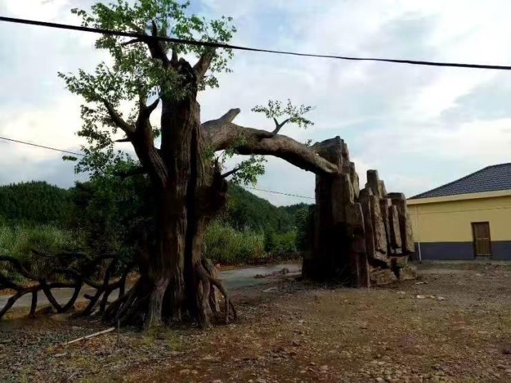 水泥仿真树大门工程-仿真树大门设计效果图