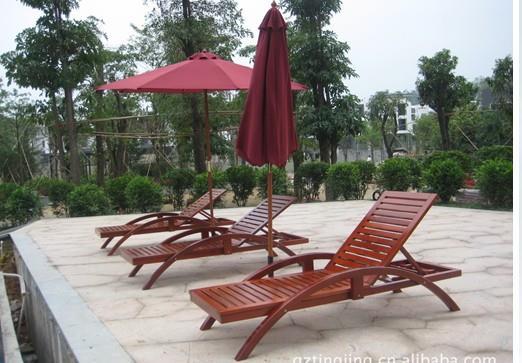 方贸园林景观沙滩椅泳池躺椅配套茶几遮阳伞三件套批发