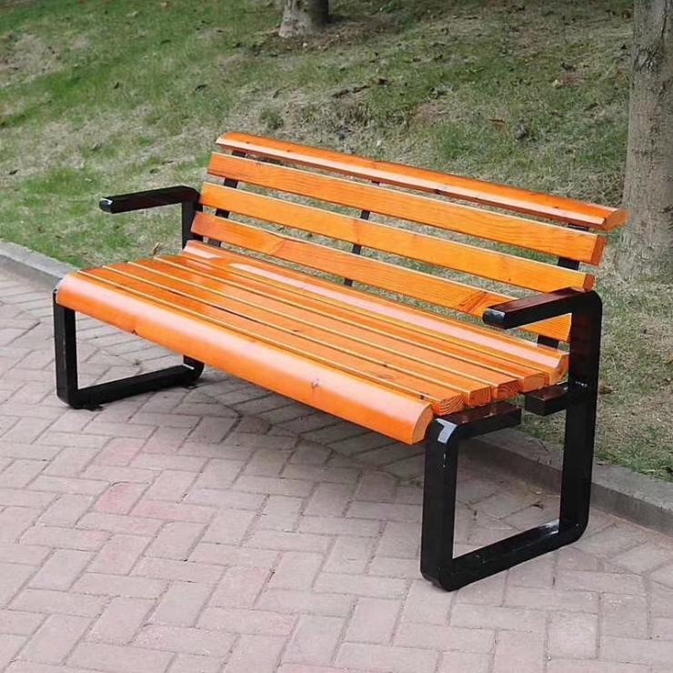 郴州休闲椅定做室外金属塑木公园椅不锈钢步行街坐凳