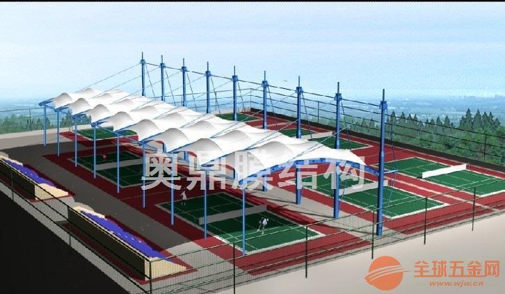 【户外羽毛球运动场设计】公园膜结构羽毛球场遮阳棚定制