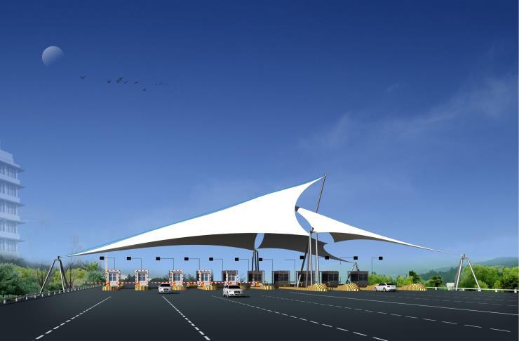 奥鼎膜结构高速收费站钢膜结构雨棚