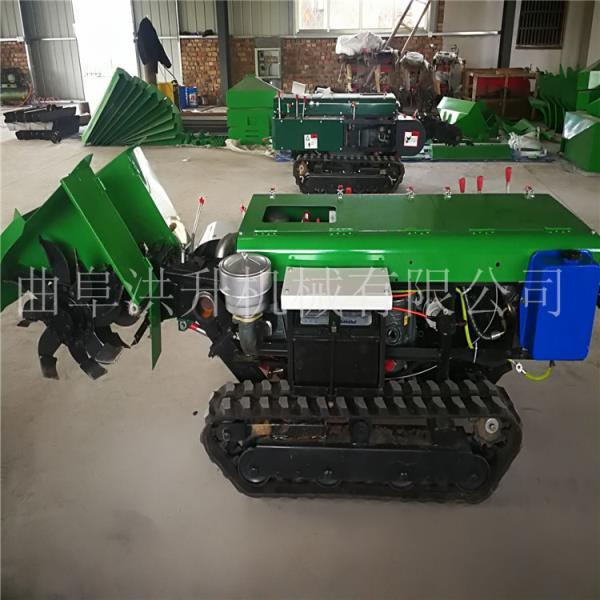 全自動履帶式開溝機柴油電啟動旋耕機