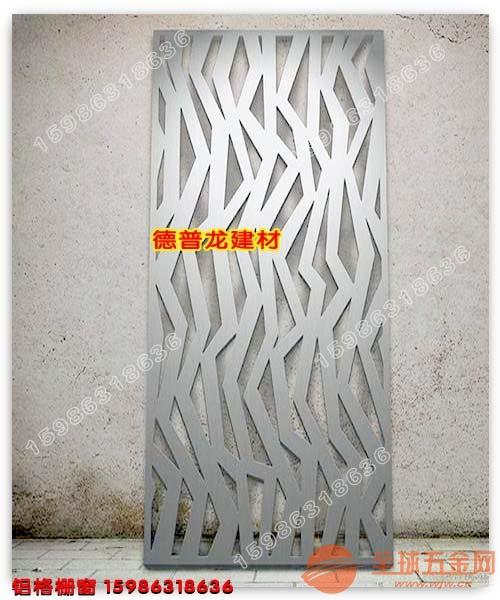 湖北连锁百货装饰木纹铝窗花复古铝屏风铝格栅窗加工厂