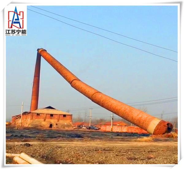 有图有真相,吕梁砖瓦厂烟囱拆除,高空作业