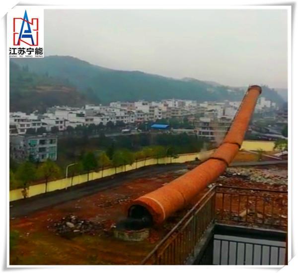 【高清图】九江人工拆除砖烟囱,拆一支价格