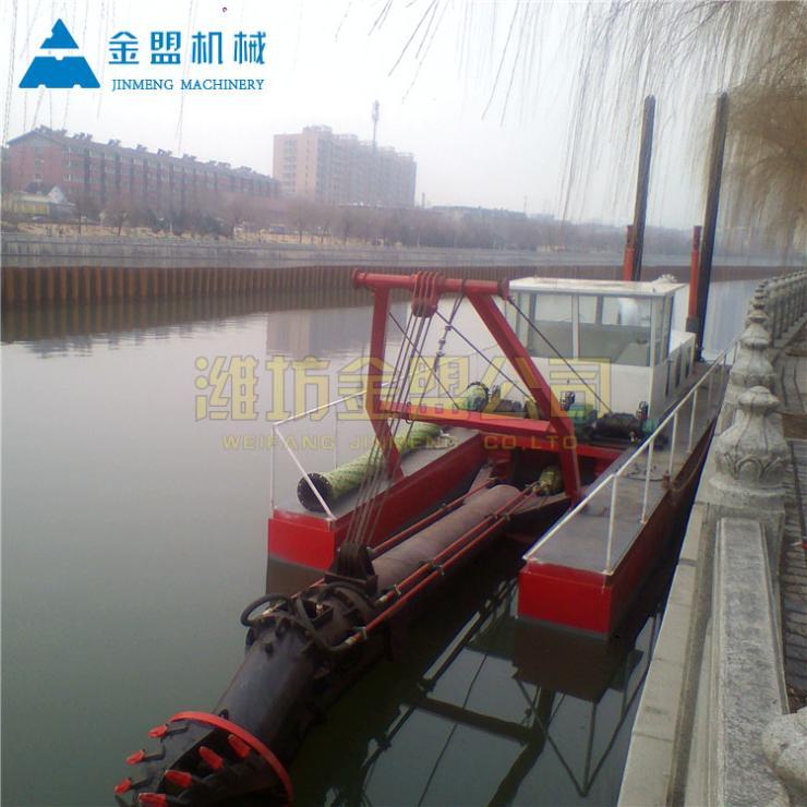 自航式河道清淤船水下作业中