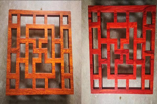 湖南娄底古建筑木纹色铝窗花 铝艺花格新中式铝合金花格
