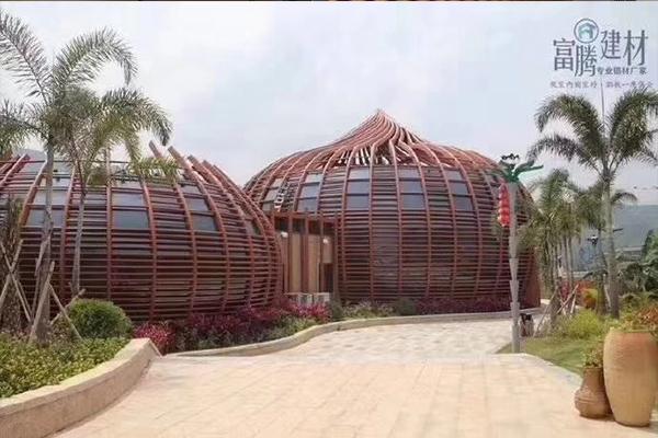 香港百乐小馆案例 木纹色造型铝 型材四方管 厂家供应