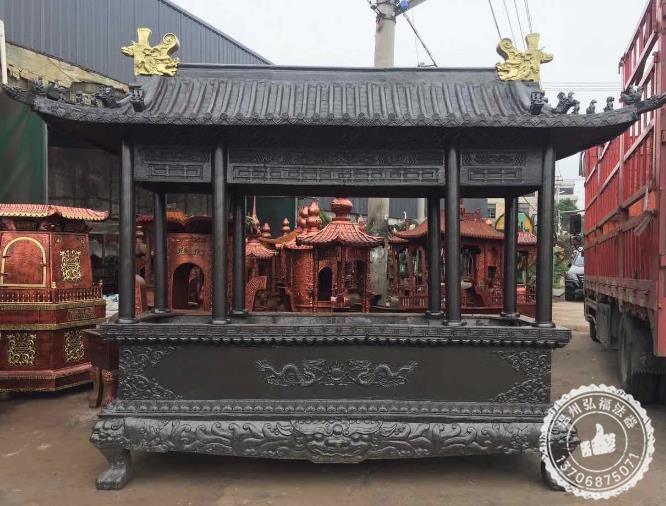 眉山佛堂铸铜八龙柱香炉