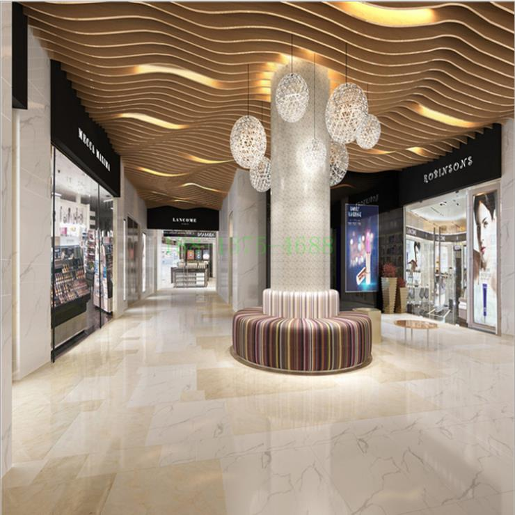 酒店商场等的弧形造型铝方通天花装饰