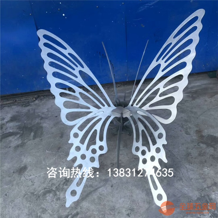 不銹鋼鏤空蝴蝶雕塑,拉絲面效果,激光切割成型