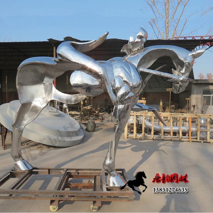 公园道路雕塑 不锈钢马雕塑