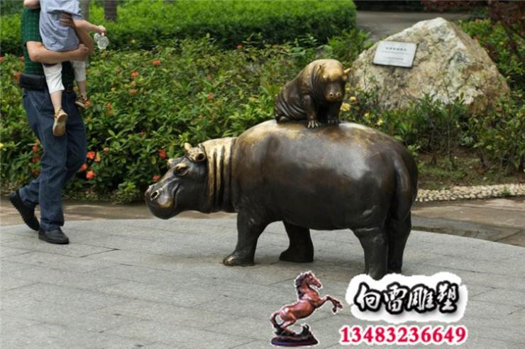 銅雕河馬、鑄銅動物雕塑、河北向雷雕塑