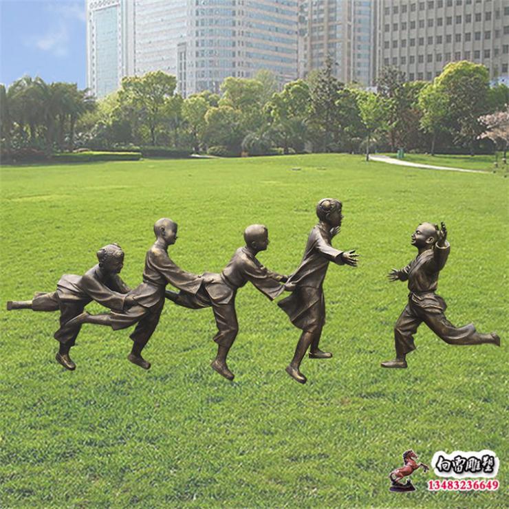 铜雕童趣老鹰捉小鸡雕塑