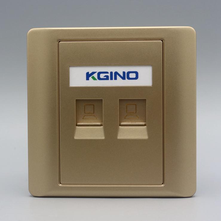 双口CAT5E网络插座金色双口电脑信息面板