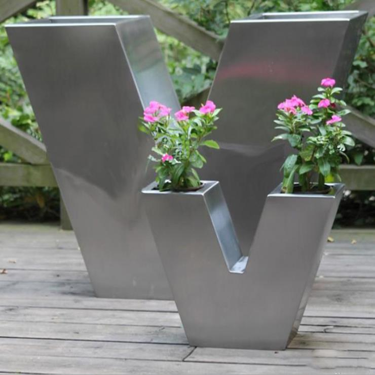 不锈钢花盆摆件