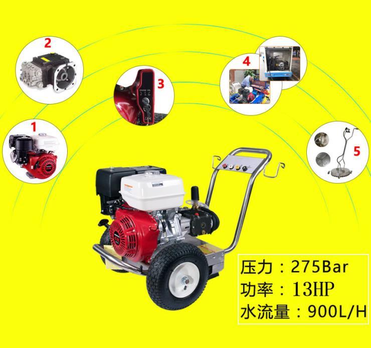 路牌清洗使用汽油驱动高压清洗机