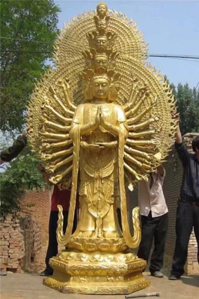 1.8米铜雕千手观音 贴金铜雕千手观音