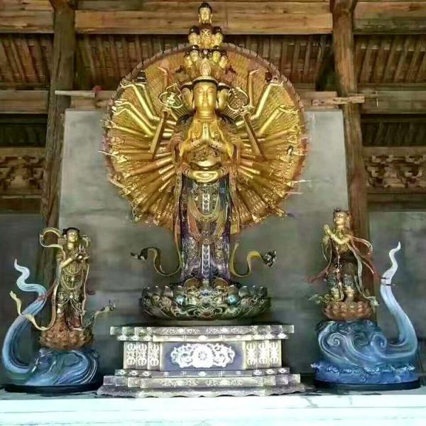 贴金千手观音铜像 铸造千手观音铜像