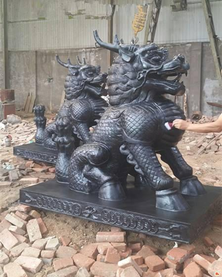 銅造麒麟雕塑擺件 進忠生產銅麒麟廠家