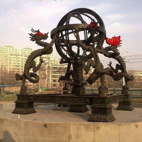 4米高浑天仪铜像 铸造浑天仪铜像