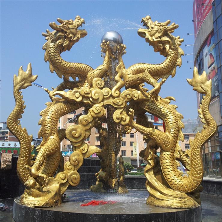 純銅龍戲珠雕塑 大型銅龍加工廠