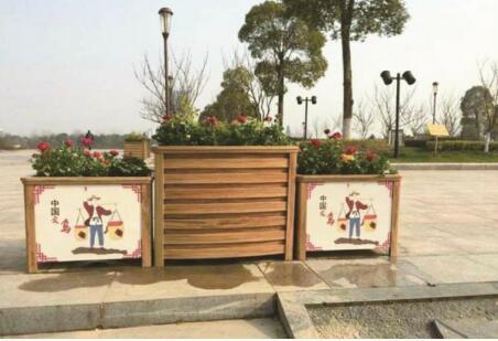 咸阳花箱隔离花盆塑木花箱、咸阳马槽街道铝合金花箱