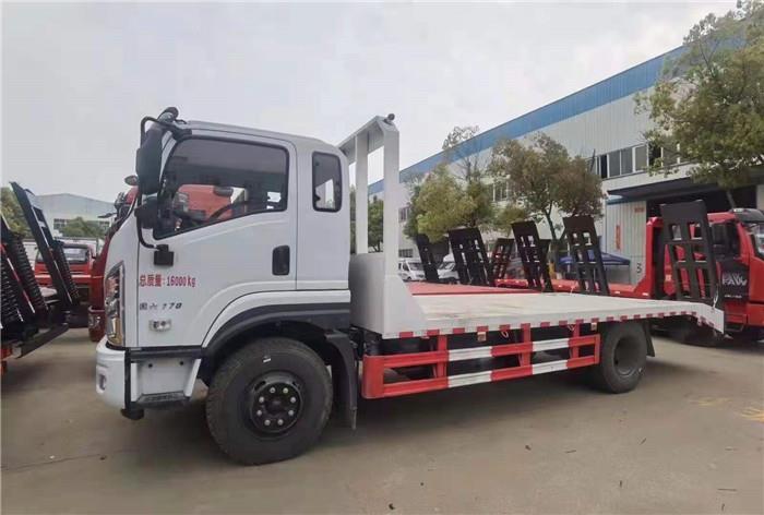 国六东风华神平板拖车厂家报价 拉8吨到15吨平板运输车