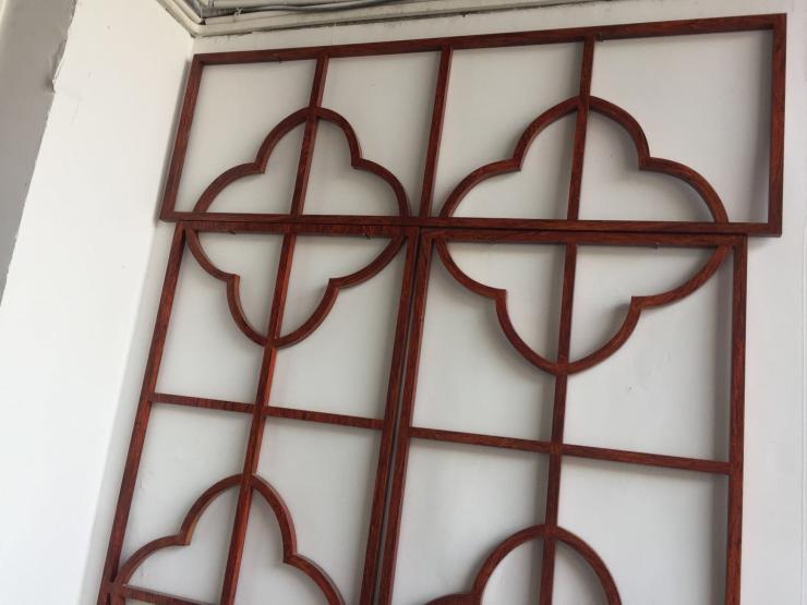 云浮园林浅绿色铝窗花_安装